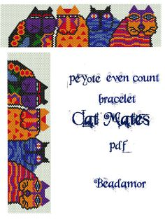 Peyote Pattern for bracelet Cat Mates- INSTANT DOWNLOAD pdf by Beadamor on Etsy