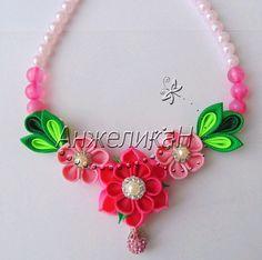 """Купить Комплект с цветами канзаши """"Очарование весны 2"""" - весна, белый, резинка для волос, розовый"""