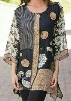 Floral Gola Redonda Informal Blusas Retas Manga Plus Size Blusas Sewing Clothes, Diy Clothes, Clothes For Women, Boho Fashion, Womens Fashion, Fashion Design, Fashion Trends, Kleidung Design, Altered Couture