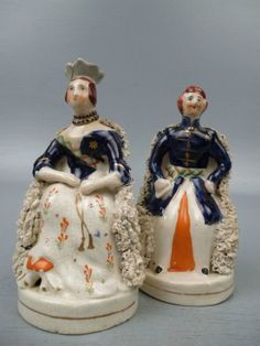 Pair Antique Staffordshire Victoria & Albert Pottery Figurines