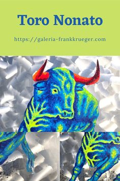 Bright colors underline the strength and temperament of this bull! The attitude alone reveals that this is an animal that is not so easy to tame - and this dynamic is immediately transferred to the viewer! #bull #painting Bull Images, Bull Painting, Mallorca Island, Classic Portraits, Popular Art, Types Of Art, Beautiful Islands, Animal Paintings, Art Forms