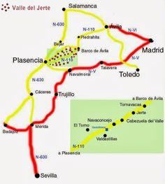 Cómo llegar al Valle del Jerte Road Trip, Spain, Map, Beautiful, Flower, Hipster Stuff, Turismo, Entrepreneur, Awesome