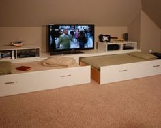 Loft space ideas- pull our guest beds and TV with angled ceilings