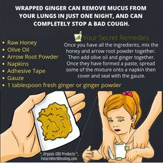 Bad cough or remove mucus in lungs by ginger paste remedies for anxiety remedies for sleep remedies high blood pressure remedies simple remedies sinus infection Health Facts, Health And Nutrition, Health And Wellness, Health Tips, Health Benefits, Child Nutrition, Home Health Remedies, Cold Home Remedies, Cough Remedies For Kids