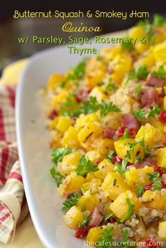 It's healthy, delicious and PERFECT for Fall! Butternut Squash & Smokey Ham Quinoa w/ Parsley, Sage, Rosemary & Thyme