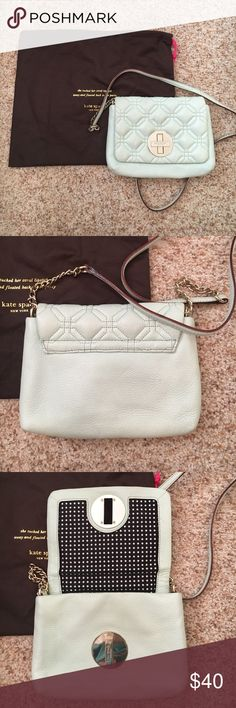 """Kate Spade crossbody bag Mint green quilted crossbody purse. Small pocket inside. Stitching on the front is messed up. Bought it as """"damaged"""" from the store. kate spade Bags Crossbody Bags"""