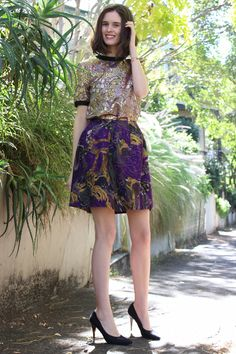 Marni Printed skirt, Marni for H and m brocade top and  Dries Van Noten heels