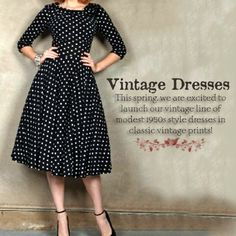 ♥ Womens Vintage Modest Polka Dot 1950s Style Dresses ! - Apostolic Clothing Co.