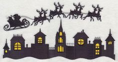 Machine Embroidery Designs at Embroidery Library! - New This Week Christmas Classroom Door, Office Christmas Decorations, Christmas Lanterns, Christmas Paper Crafts, Christmas Art, Christmas Town, Wood Carving For Beginners, Silhouette Clip Art, Silhouette Images