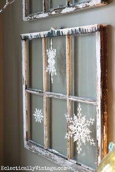 My Christmas House Tour! Vintage window with snowflakes - see the wintry white dining room at eclecticallyvinta. Country Christmas, All Things Christmas, Winter Christmas, Christmas Home, Vintage Christmas, Christmas Windows, Merry Christmas, Vintage Windows, Old Windows