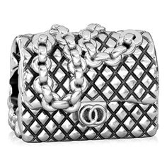 BELLA FASCINI Designer Quilted Chain Purse European Bead Charm Sterling Silver Fits Bracelets * More info could be found at the image url. (This is an affiliate link) #NiceJewelry