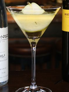 Poire Royale  - 1 ½ oz. Hangar One Spiced pear vodka  - ¼ oz. Mazzenez, Poire Williams, Eau-de-vie  - ¼ oz. St. Germain elderflower liqueur   - ½ oz. simple syrup   - 2 oz. Looza pear nectar    Combine all ingredients over ice in a shaker. Shake and strain into a martini glass. Cut a thin piece from top to bottom in the center of a bosc pear for garnish.