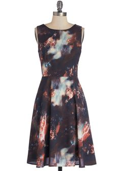 The Way I Galaxy It Dress - Long, Chiffon, Woven, Multi, Print, Party, Cosmic, A-line, Sleeveless, Better, Scoop, Pockets, Exclusives $85