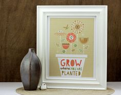 Planted Art Print - Flower Garden Print, Grow Where You Are Planted, Typography Print, Digital Print, Ivory