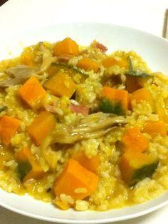 前回は、米からだったので、固かった。今回は炊いたご飯でリベンジ! - 1件のもぐもぐ - カボチャのリゾット by toomoo
