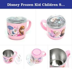"""Disney Frozen Kid Children Stainless Cup with Clear Lid - Non Slip Bottom 042547. Disney Frozen Characters - Licensed item - Stainless Steel Cup - with Lid Cover & Non-Slip Pad on the Bottom - BPA Free - High Quality - Made in Korea - Kids like them - Safe, Strong and Clean - Diameter : 7.5cm (2.95"""") - Height: 7cm (2.75"""") - Capacity: 255ml."""