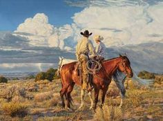 Tim Cox paints what he knows; ranchers, livestockers, cowhands or country kids - all of them touch his heart.Vibrant horses, cattle, add a striking landscape with dramatic skies - clear blue, wispy pink clouds or spectacular thunderheads and you have a Tim Cox painting.
