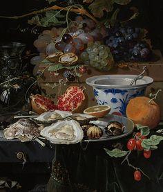 Abraham Mignon, Nature morte aux fruits, huîtres et un bol en porcelaine  http://casaprints.com/fr/74-reproductions-de-tableaux-de-abraham-mignon