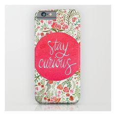 Stay Curious – Pink & Green iPhone 6s Case ($35) ❤ liked on Polyvore featuring accessories, tech accessories and iphone & ipod cases