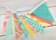 Bunting Fabric Banner Flags, Photo Prop, Baby, Nursery Decor - Mint Green, Peach, Yellow, Seafoam Green, Chevron, Dots