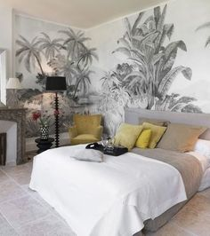 One of my current obsessions: panoramic wallpapers - Architecture and Home Decor - Bedroom - Bathroom - Kitchen And Living Room Interior Design Decorating Ideas - Master Bedroom Interior, Home Decor Bedroom, Staircase Wall Decor, Chic Wallpaper, Bedroom Decor With Wallpaper, Interior Architecture, Interior Design, Condo Living, Living Room