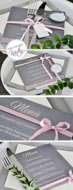 Menükarten zur Hochzeit Place Cards, Place Card Holders, Joy, Weddings, School, Diy Wedding Decorations, Wedding Ideas, Glee, Wedding