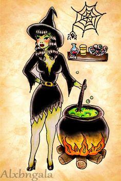 Halloween Tattoo Flash by:Alxbngala by Alejandra L Manriquez, via Behance - Halloween Tattoos, Flash Art Tattoos, Tattoos Skull, Pin Up Tattoos, Body Art Tattoos, I Tattoo, Spooky Tattoos, Tattoo Time, Dream Tattoos, Halloween Tattoo Flash