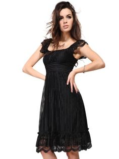 Ever Pretty Chic Black Lace Knee-length Double Layer Ruffles Cocktail Dress 02713