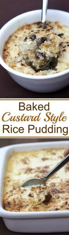 Baked Custard Style Rice Pudding recipe. A delicious Old Fashioned recipe from my Grandma  Tastes Better From Scratch - use honey and quinoa?!