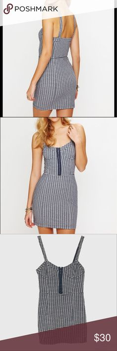 FP Intimately Free Live of Gingham Bodycon Blue and white gingham print bodycon with bustier style bodice. Stretchy and super cute! Easy to dress up or down and in excellent condition! Free People Dresses