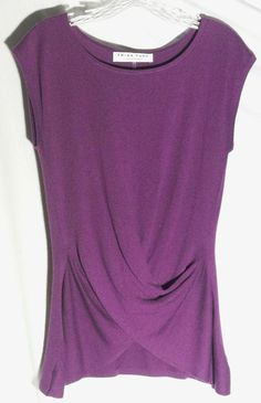 New TRINA TURK LOS ANGELES Silk and Cashmere Purple Cross Draped Sweater - Small #TrinaTurk #Roundneck