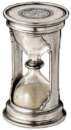 Hourglass round cm h 12 - 2,5 minutes (Pewter, Glass)
