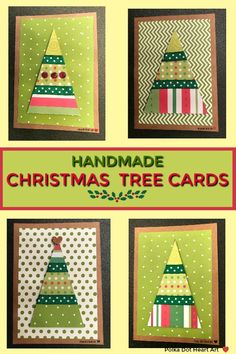 Simple Handmade Christmas Tree Holiday Cards by Polka Dot Heart Art in Red, White and Green. Mounted on Brown Kraft Paper.