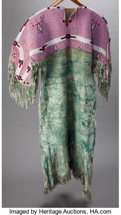 American Indian Art:Beadwork and Quillwork, A SIOUX BEADED HIDE DRESS. c. 1900...