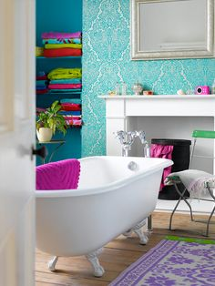 In love with the colors and tub! I like these colors for a kids bathroom