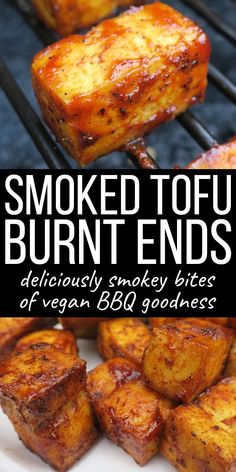 Learn to make smoked tofu with this delicious tofu burnt ends recipe! These smokey and sweet bites of BBQ goodness are an awesome vegan alternative. Smoked Tofu Burnt Ends - A Vegan BBQ Recipe - Smoked Tofu Burnt Ends Vegan Bbq Recipes, Vegan Foods, Vegan Dinners, Healthy Recipes, Smoker Recipes, Healthy Cooking, Eating Healthy, Grilled Tofu Recipes, Jello Recipes