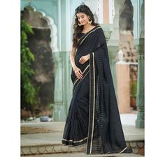 Black Art silk saree with embroidered net border