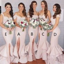 Mermaid Off-the-Shoulder Ivory Sequined Bridesmaid Dress with Split Ruffles