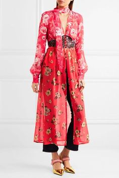 Multicolored silk-chiffon Button fastenings through front 100% silk Dry clean Designer color: Pink/ Red Floral Made in ItalySmall to size. See Size & Fit notes