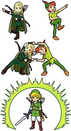 Pull Parodie Link de Zelda, Peter Pan et Legolas du Seigneur des Anneaux - La…