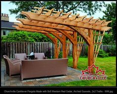 Churchville Cantilever Pergola Made with 8x8 Western Red Cedar, Arched  Gussets, 2x2 Trellis -