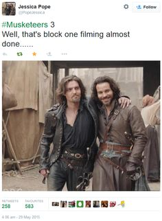 The Musketeers - Series III BtS filming via Jessica Pope's Twitter (Athos & Aramis) <3 <3 <3
