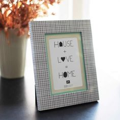 Present Time Picture Frames - Aztec Photo frame with Grey Square design