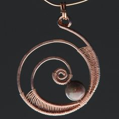 Circled Copper Wire Wrap and Bead Pendant | WagonerWireWorks - Jewelry on ArtFire