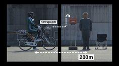 西日本新聞qBiz WebCM第2弾「世界最速の新聞配達」篇 デジタルの可能性を、人体を使ってうまく比較表現されている。