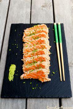 Sushi Recipes, Seafood Recipes, Asian Recipes, Healthy Recipes, Ceviche, Pescado Recipe, Beef Tataki, Salmon Sashimi, Sushi Party