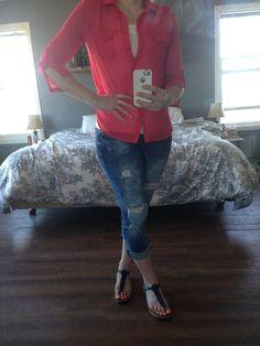 Today's Outfit, Coral Top, Strap Sandals, Boyfriend Jeans, Charlotte, Label, Slim, Pants, Shirts