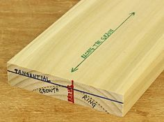 Wood marked with movement and grain orientation