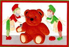Curtis Swann embossed Christmas card Elves and Teddy Bear