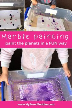 Marble Painted Planets: What about beyond what we can see? To begin our space themed play, we created our own Marble Painted Planets.